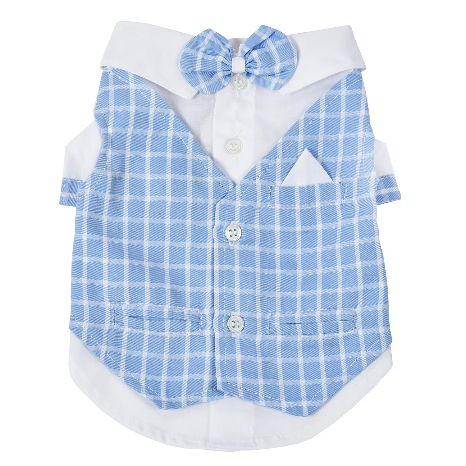 License to Charm Dog Tuxedo By Oscar Newman - Baby Blue Plaid