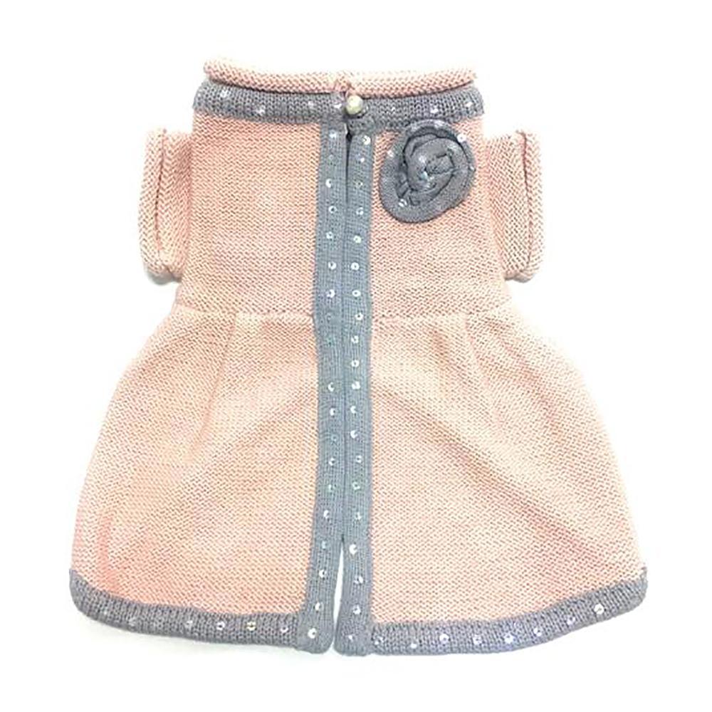 Princess Charlotte Dog Sweater Dress by Oscar Newman - Peach