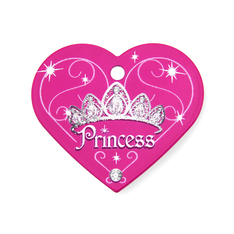 Princess Heart Large Engravable Pet I.D. Tag