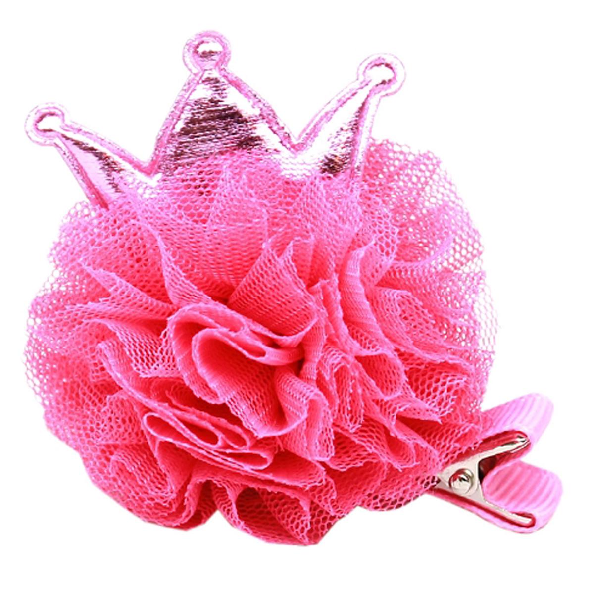 Princess Puff Dog Bow - Bright Pink