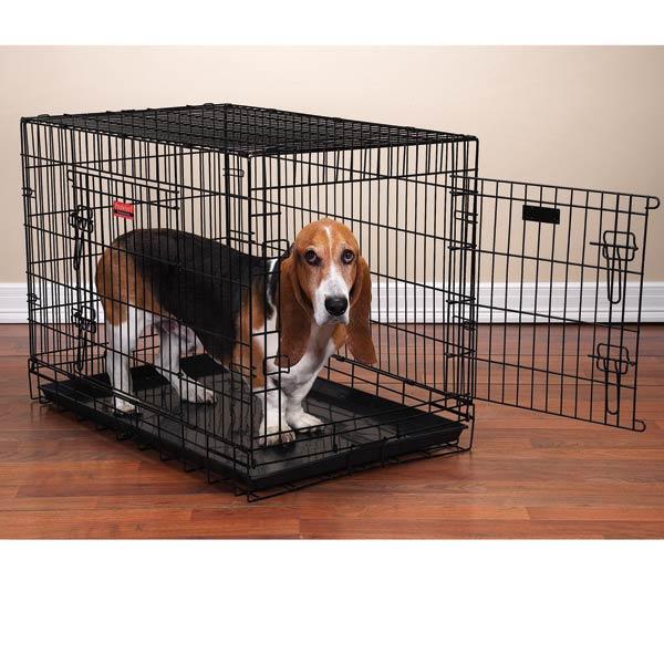 Proselect Everlasting Dual Door Folding Dog Crate Black