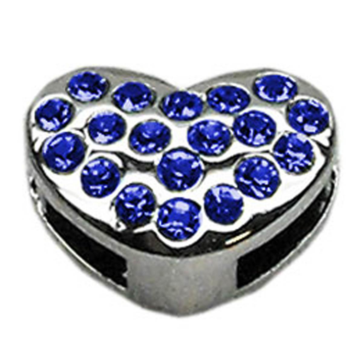Puffy Heart Slider Dog Collar Charm - Blue