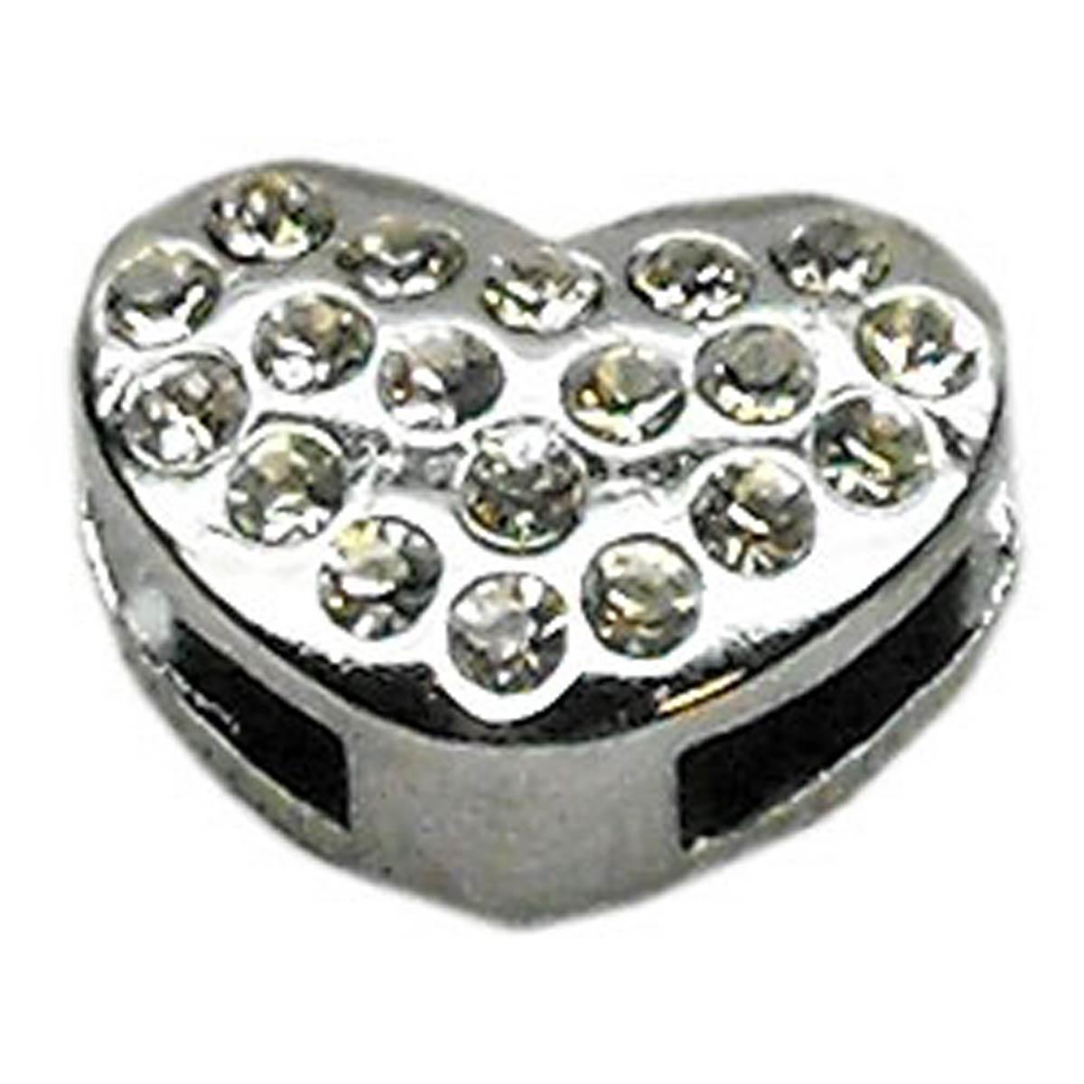 Puffy Heart Slider Dog Collar Charm - Clear