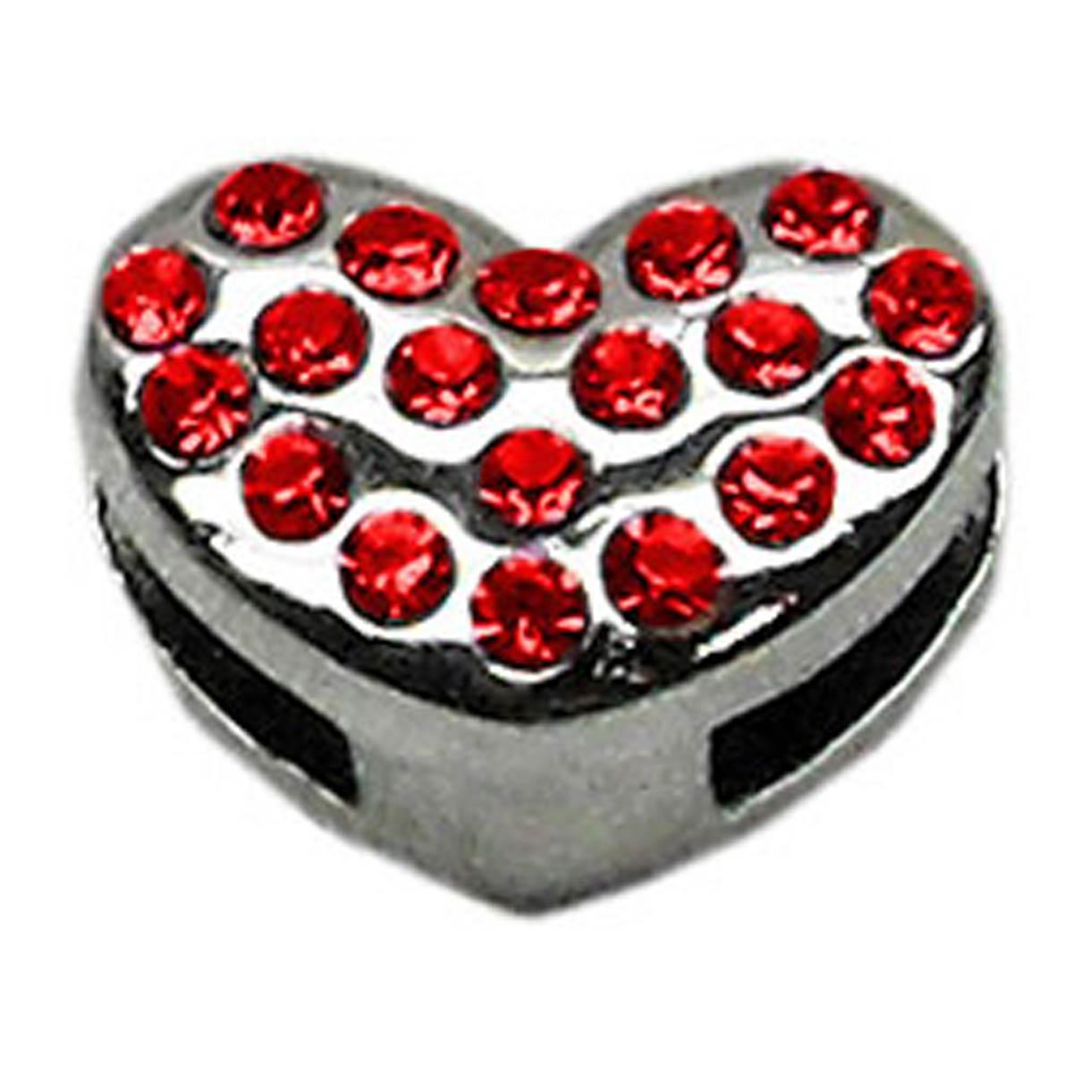 Puffy Heart Slider Dog Collar Charm - Red