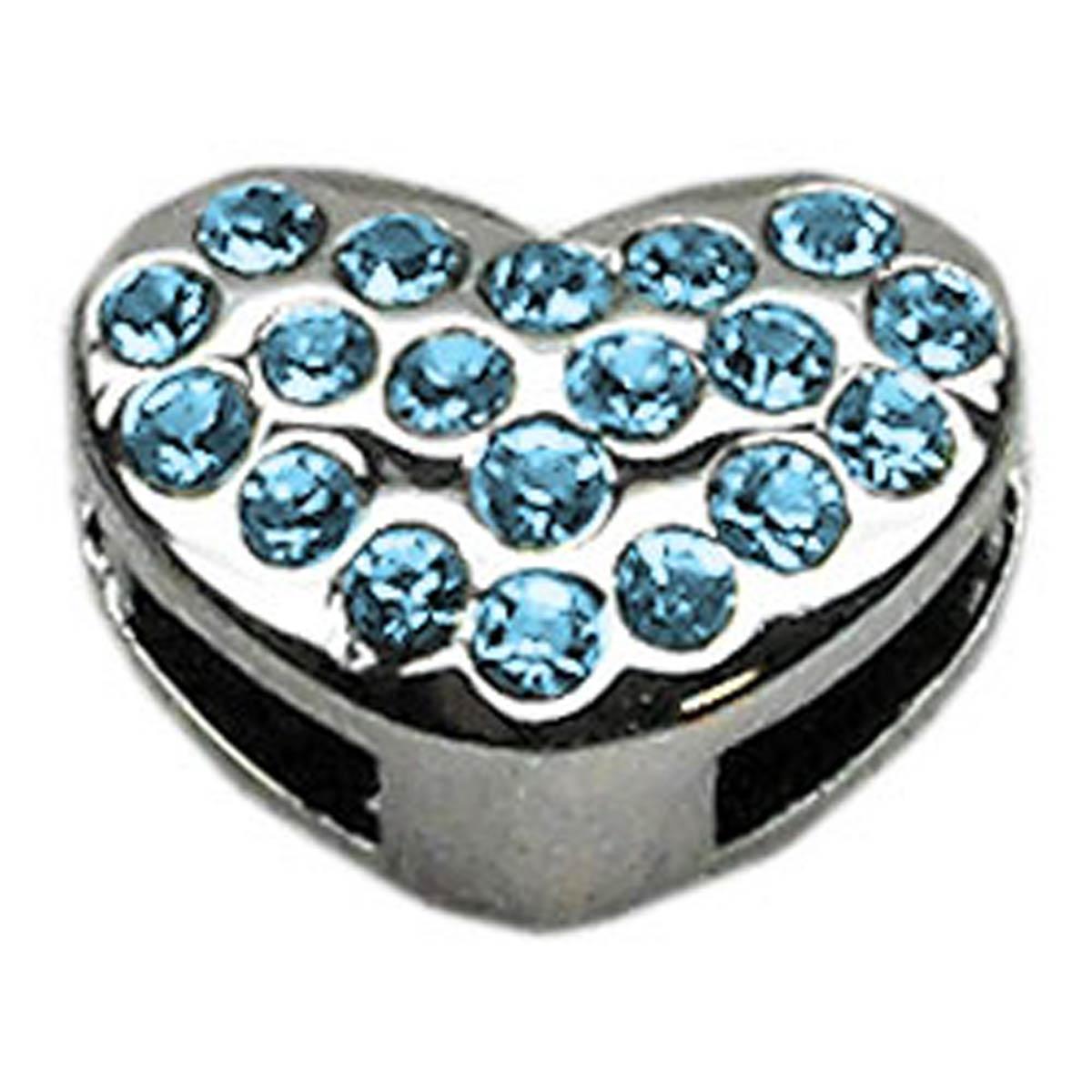 Puffy Heart Slider Dog Collar Charm - Turquoise