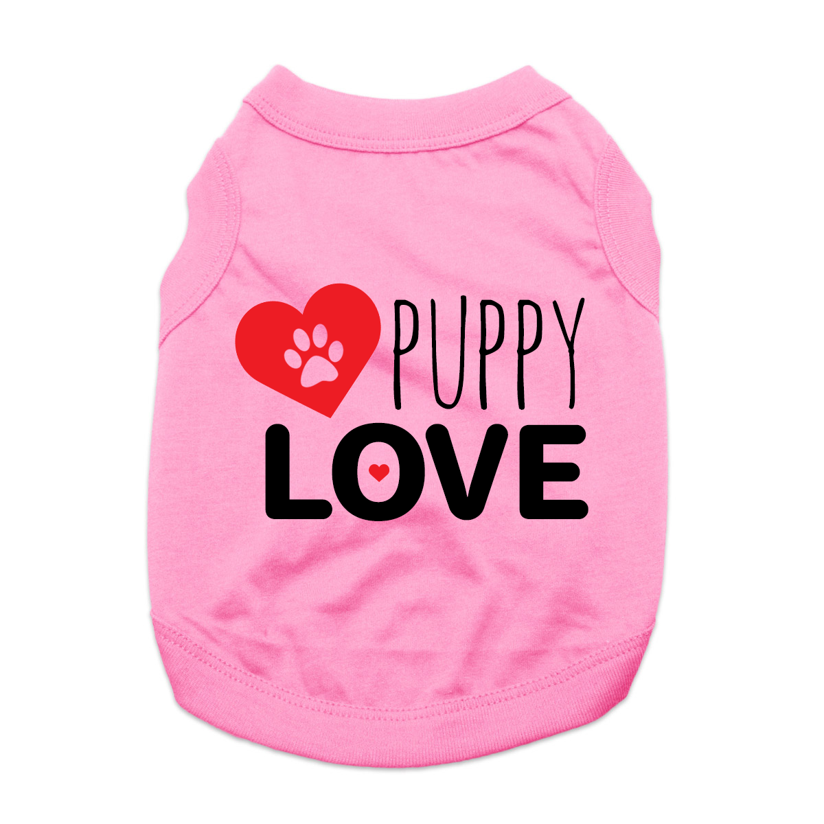 Puppy Love Dog Shirt with Paw Heart - Light Pink