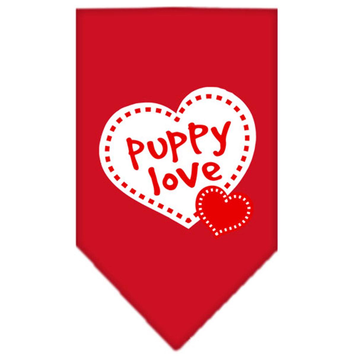 Puppy Love Screen Print Dog Bandana - Red