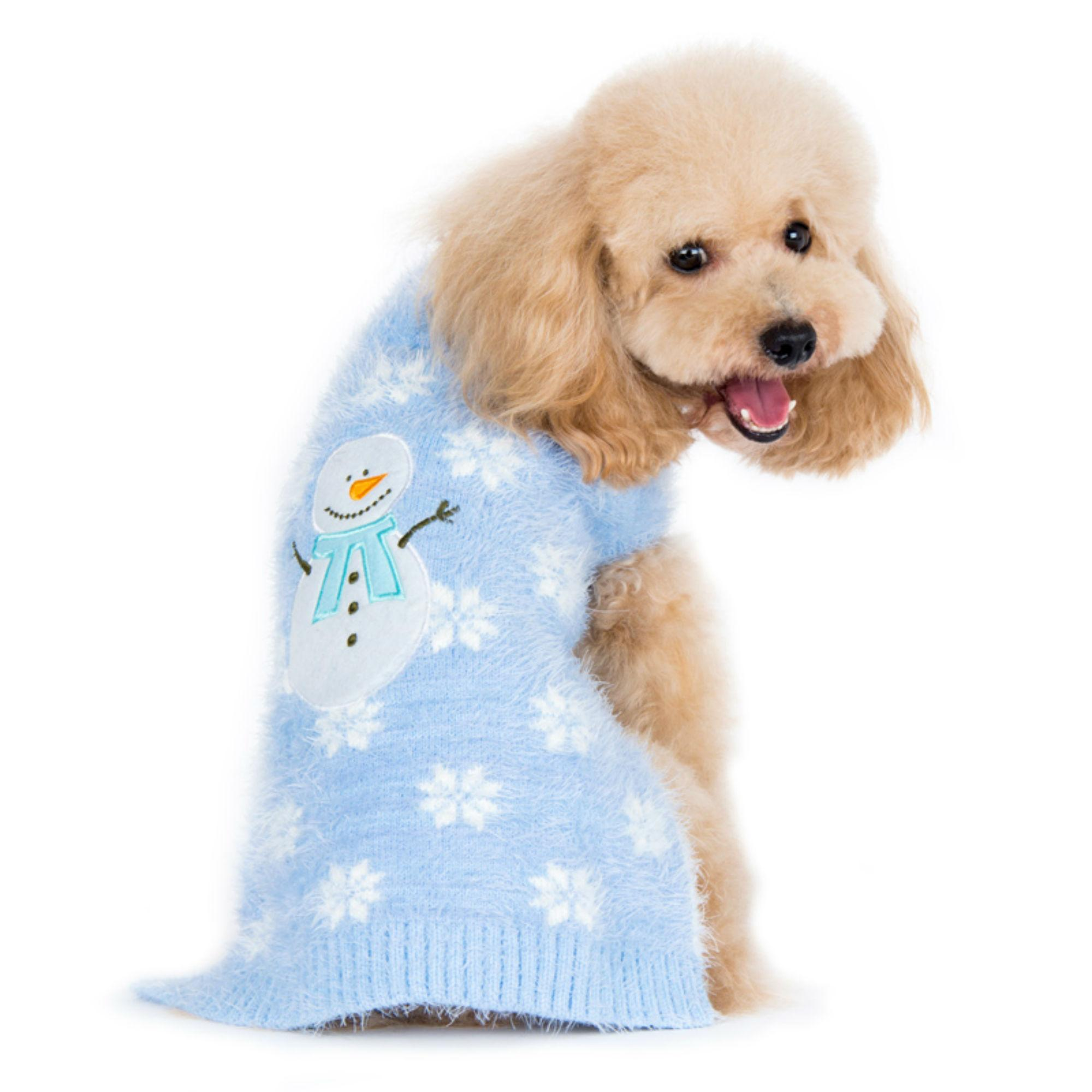 PuppyPAWer Snowman Dog Sweater by Dogo - Blue