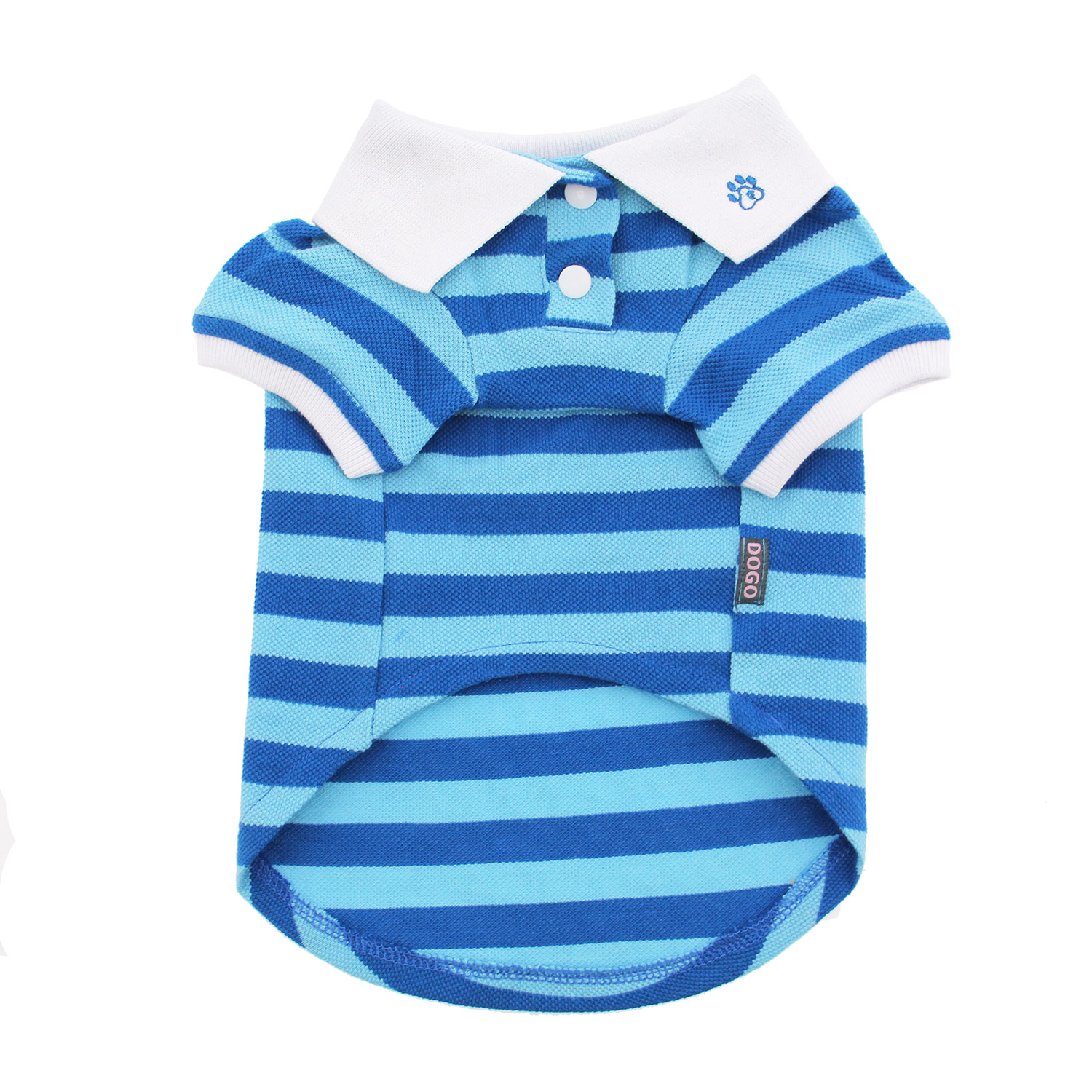 PuppyPAWer Stripe Dog Polo by Dogo - Blue