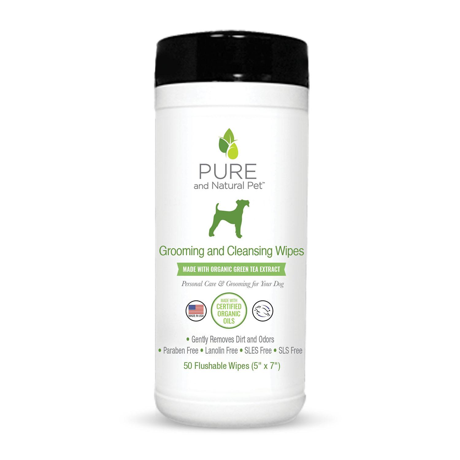 Pure and Natural Pet Grooming and Cleansing Wipes for Dogs - Green Tea