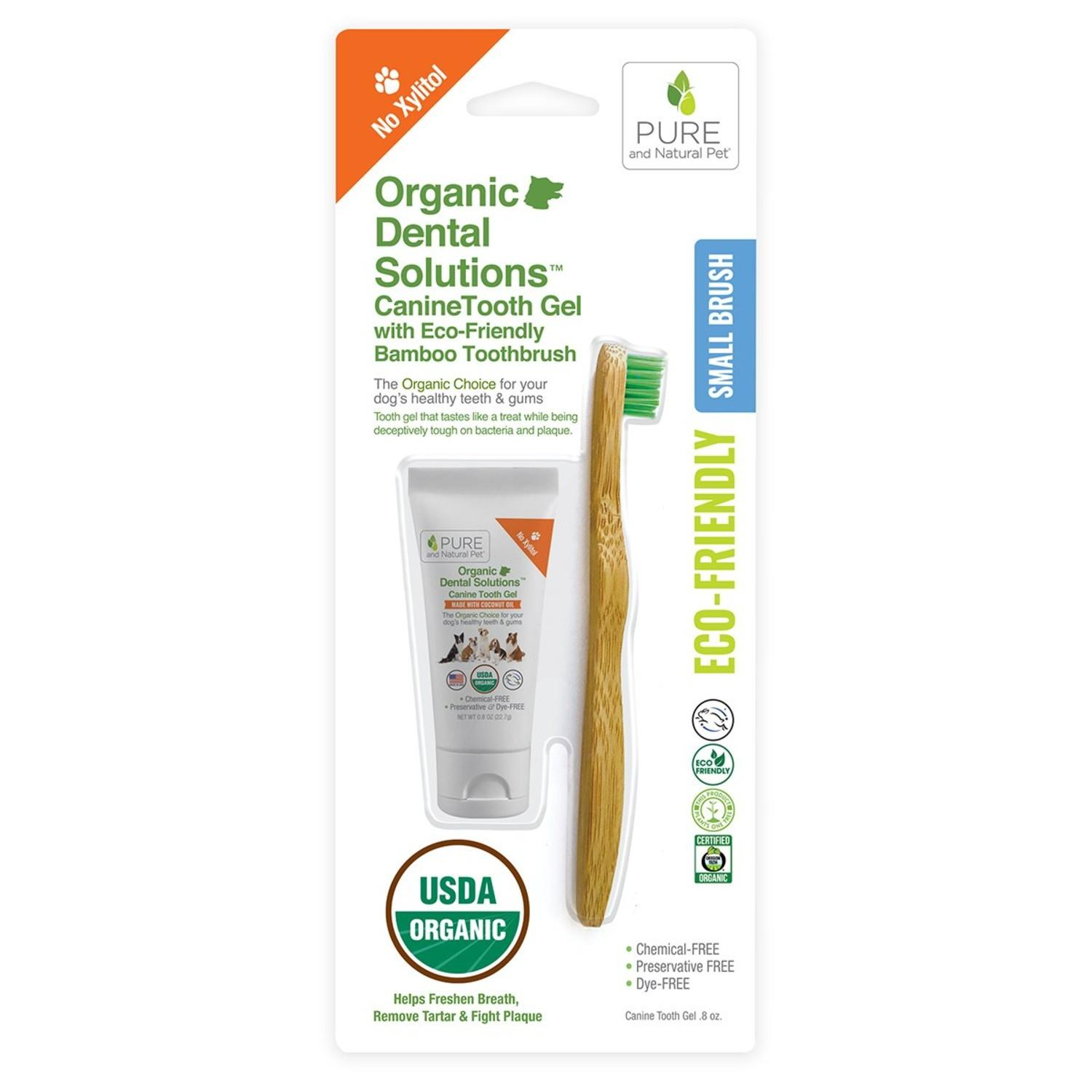 Pure and Natural Pet Organic Dental Solutions CanineTooth Gel with Bamboo Dog Toothbrush