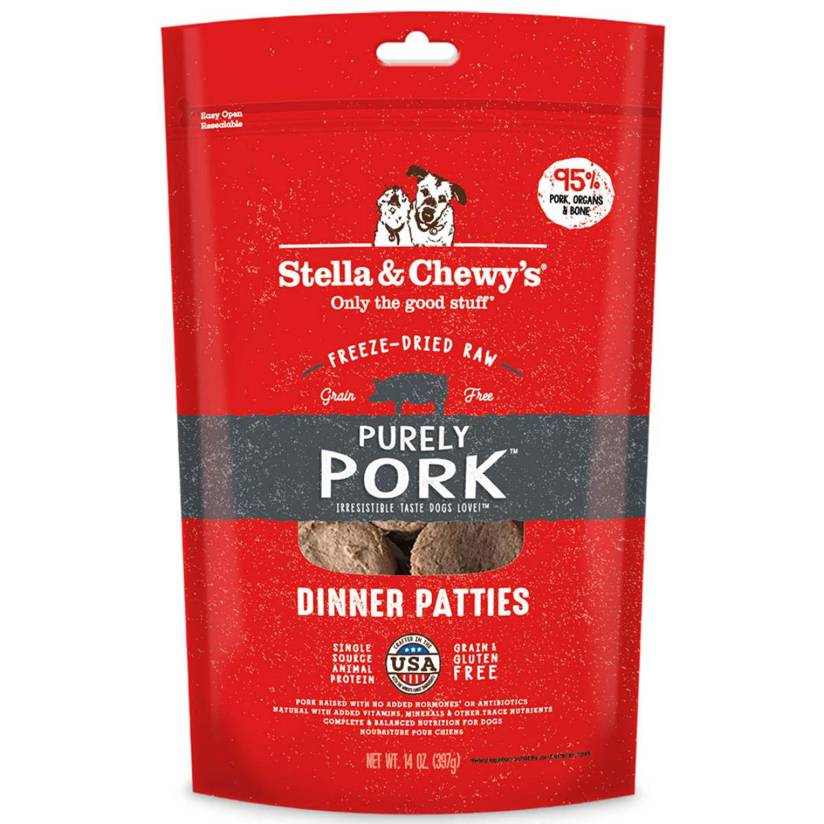 Stella & Chewy's Purely Pork Dinner Patties Dog Treat - Freeze Dried