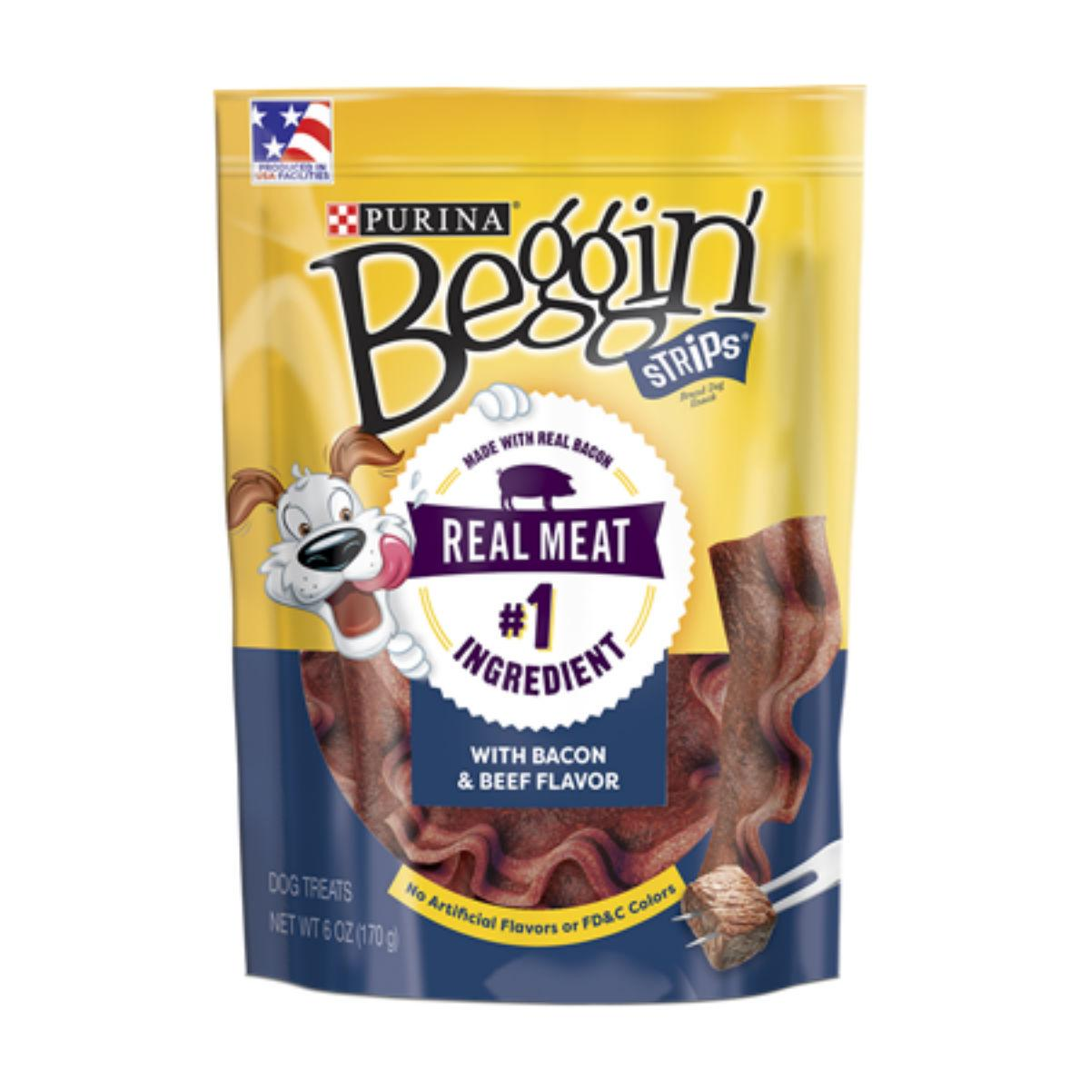 Purina Beggin Strips Dog Treat - Bacon and Beef Flavor