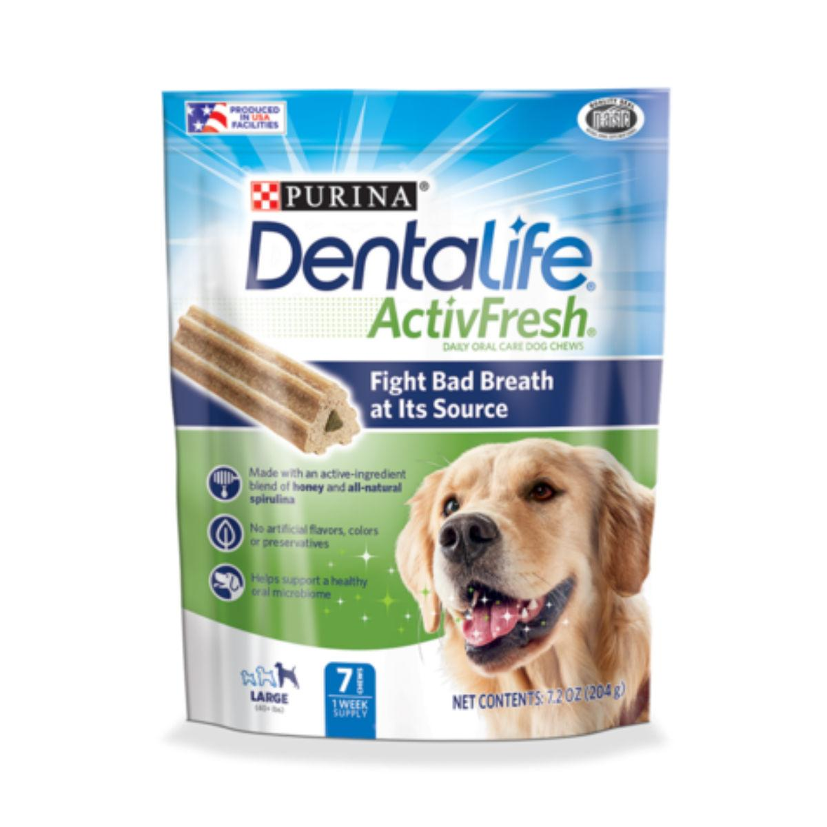 Purina Dentalife Activfresh Daily Oral Care Dog Supplements - Large