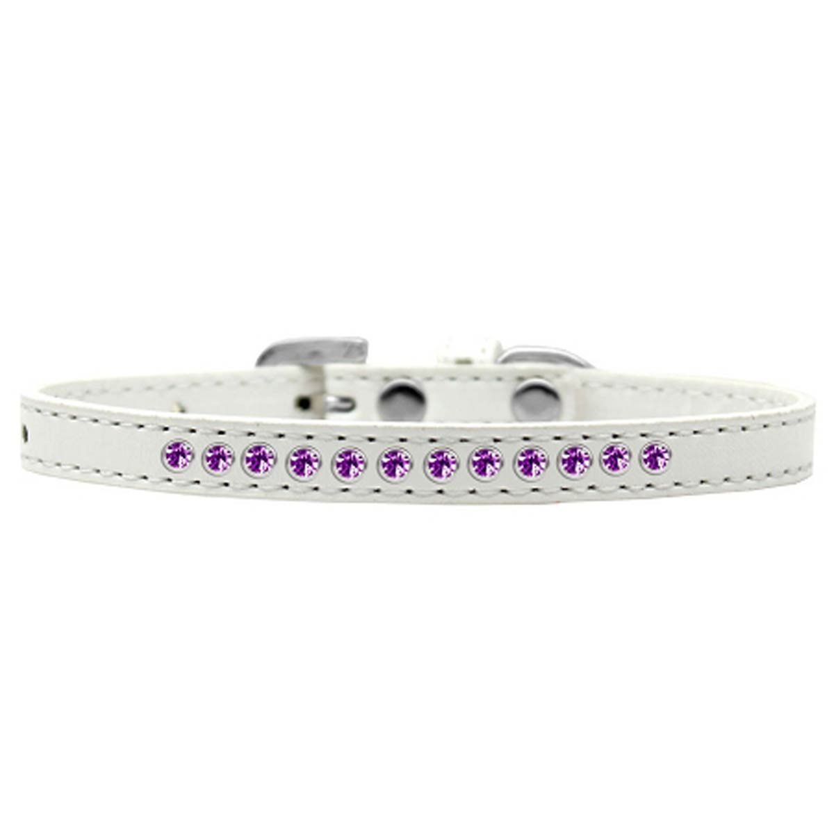 Purple Crystal Puppy White Dog Collar