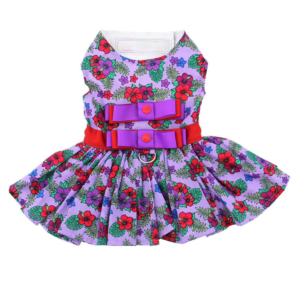 Purple and Red Floral Dog Harness Dress by Doggie Design