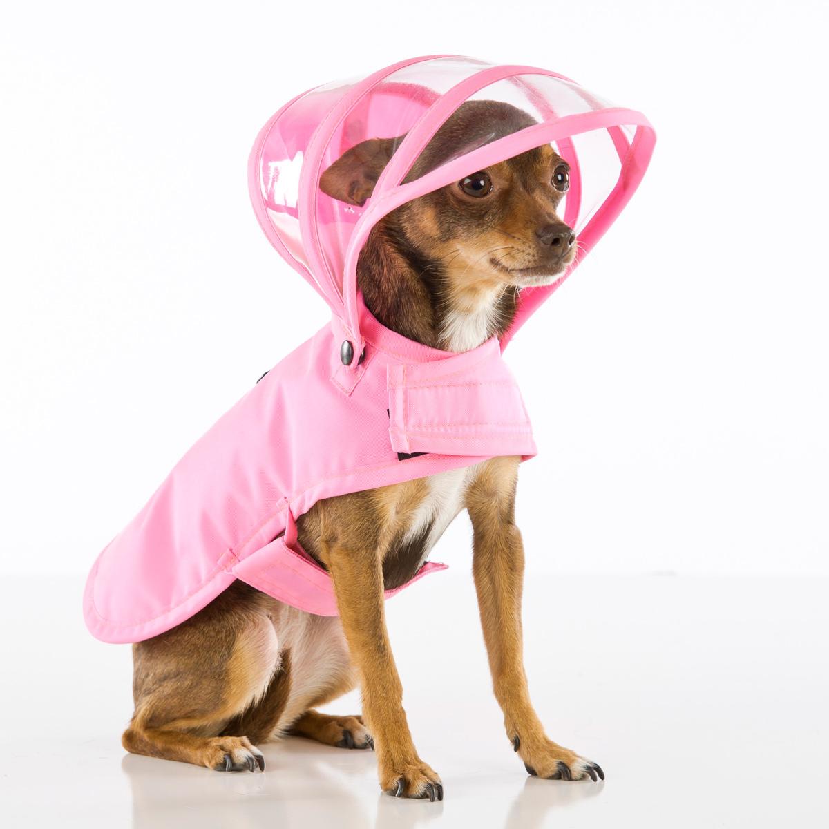 Push Pushi Rainbow Line Dog Raincoat - Pink