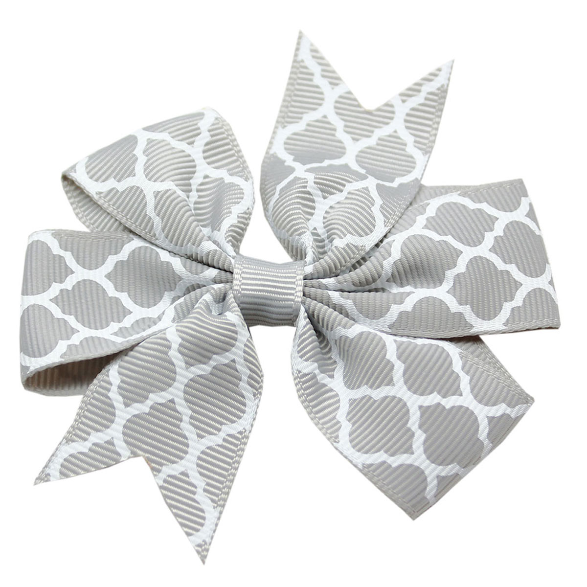Quatrefoil Dog Bow - Gray