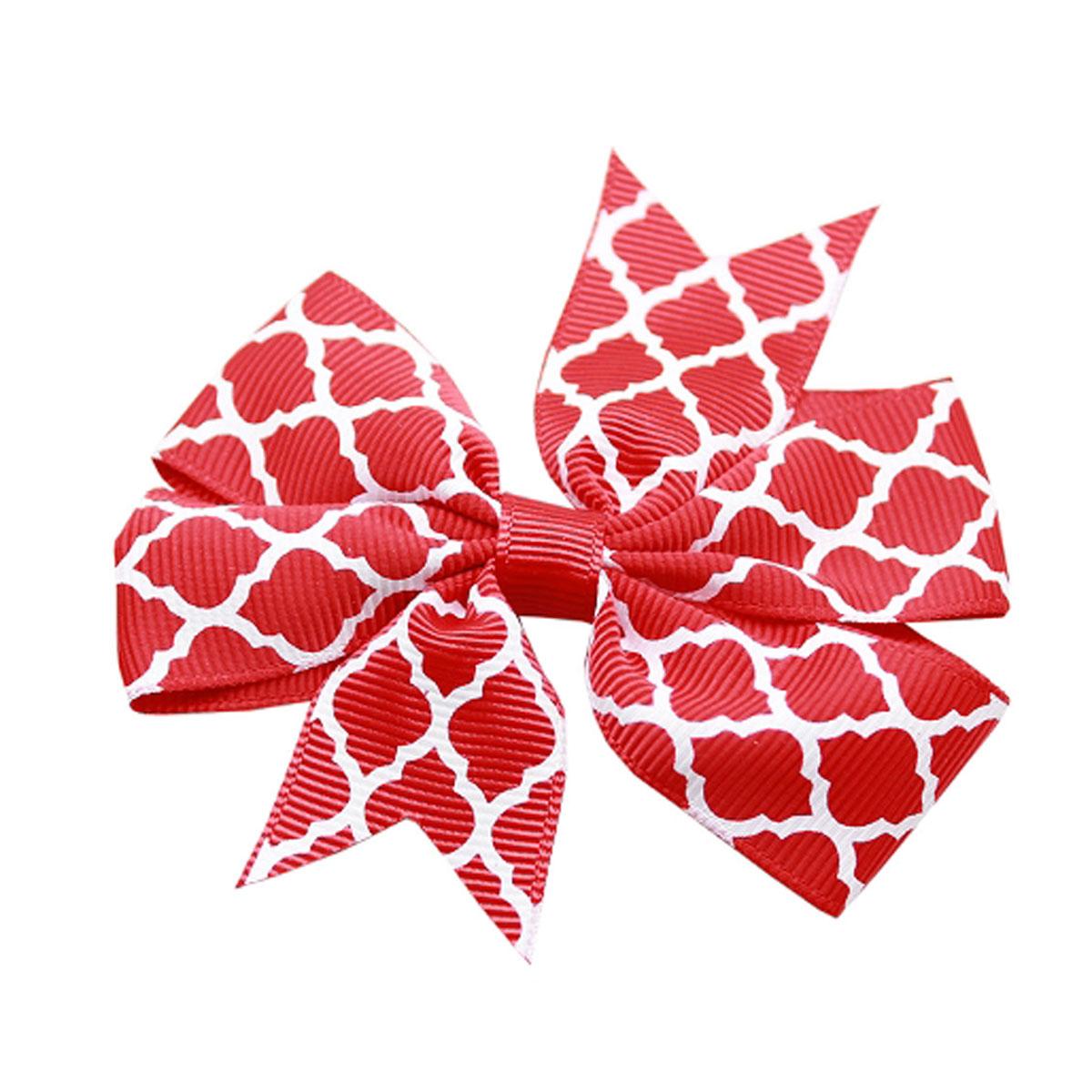 Quatrefoil Dog Bow - Red