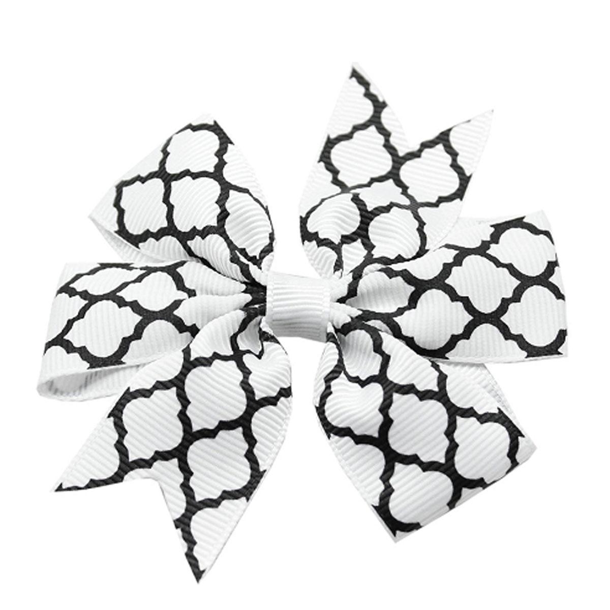 Quatrefoil Dog Bow - White