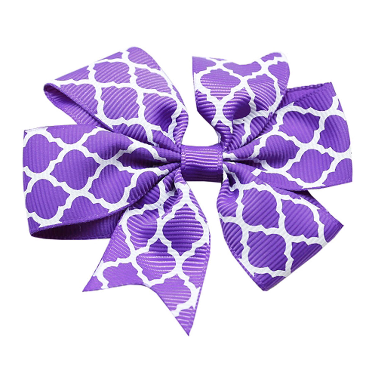 Quatrefoil Dog Bow - Purple