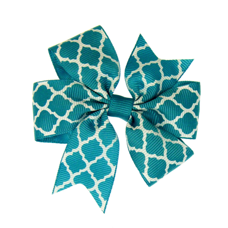 Quatrefoil Dog Bow - Turquoise
