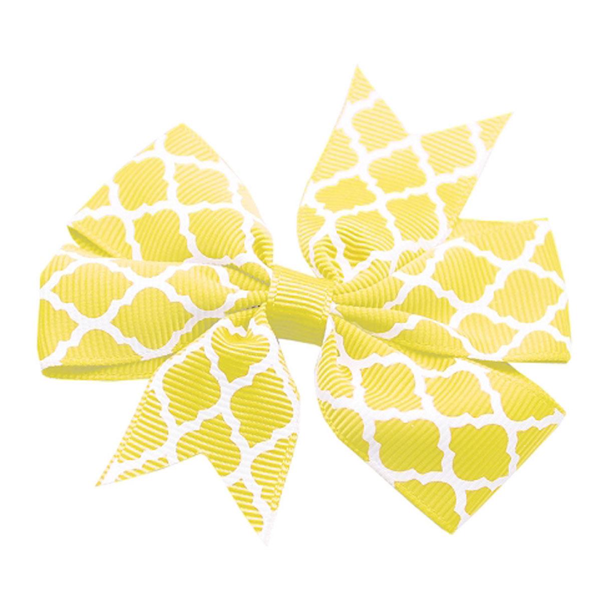 Quatrefoil Dog Bow - Yellow