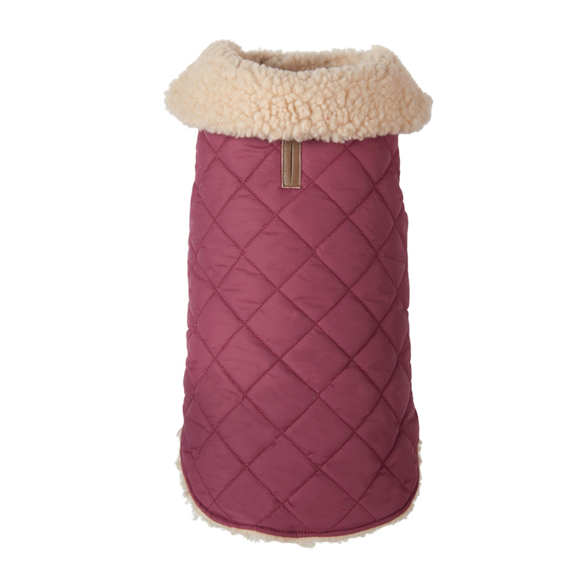 Quilted Shearling Dog Jacket - Burgundy