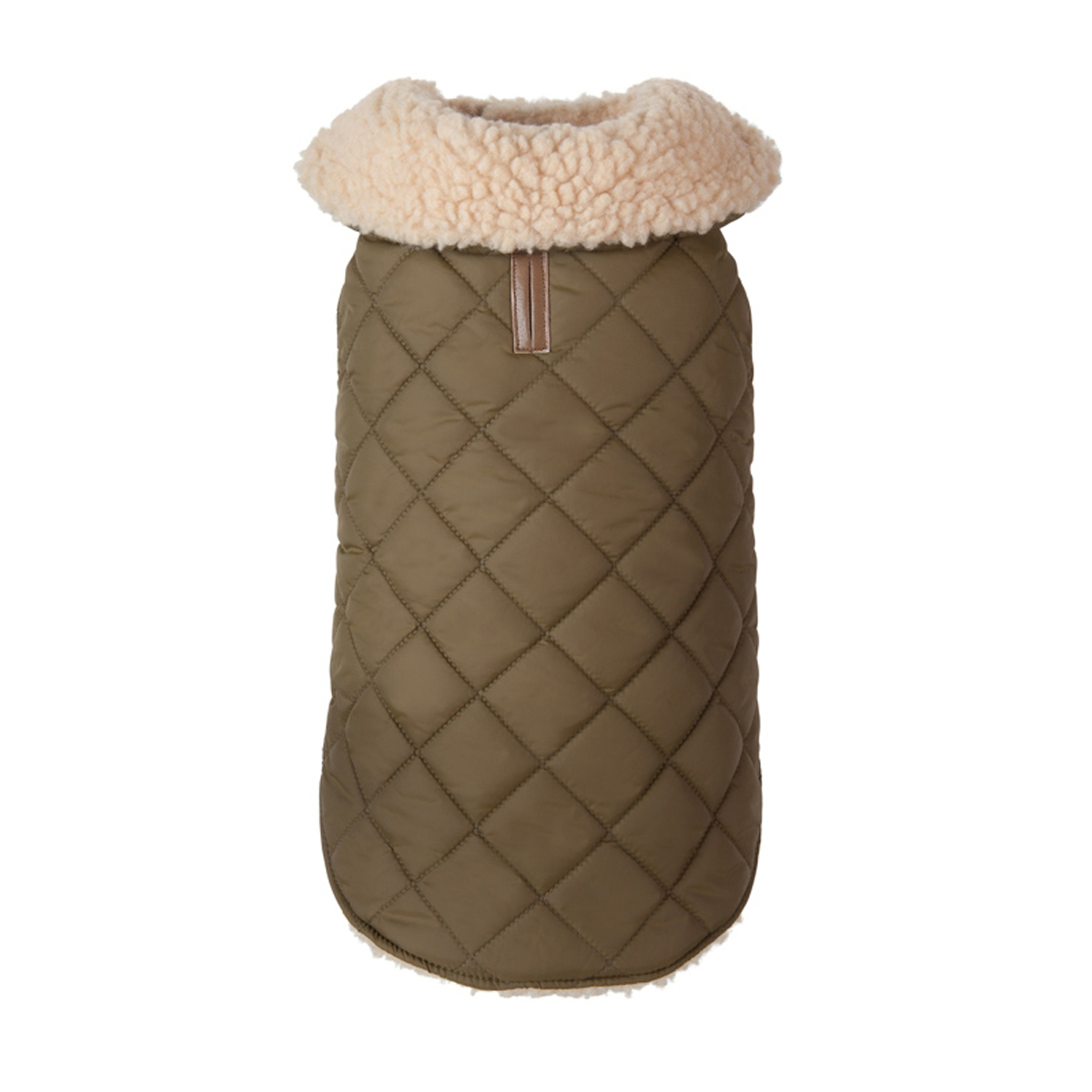 Quilted Shearling Dog Jacket - Olive