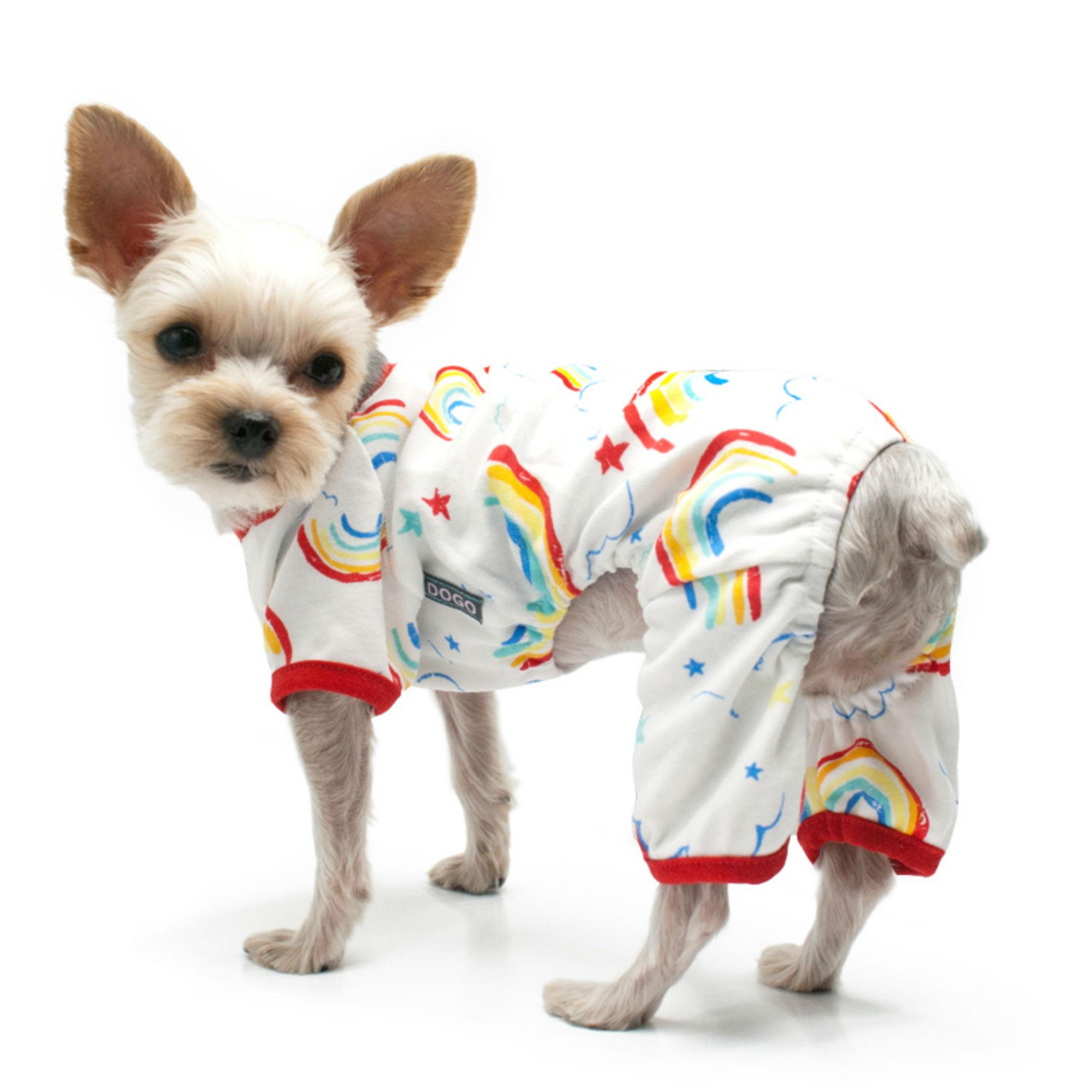 Rainbow Dog Pajamas by Dogo - Red