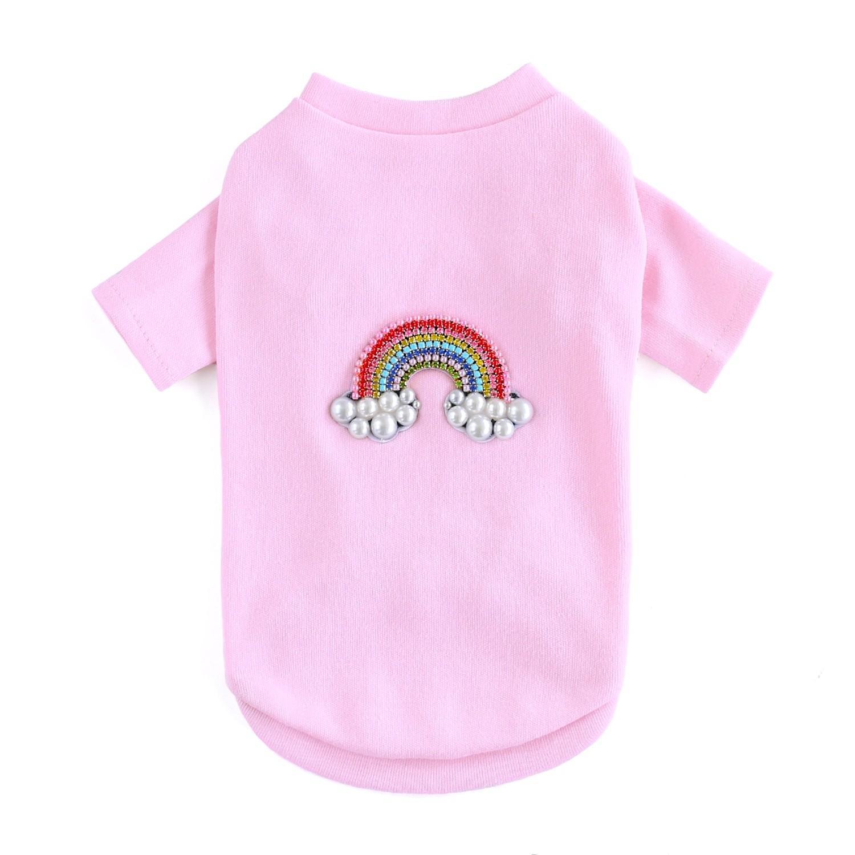 Rainbow Dog T-Shirt by Hello Doggie - Pink