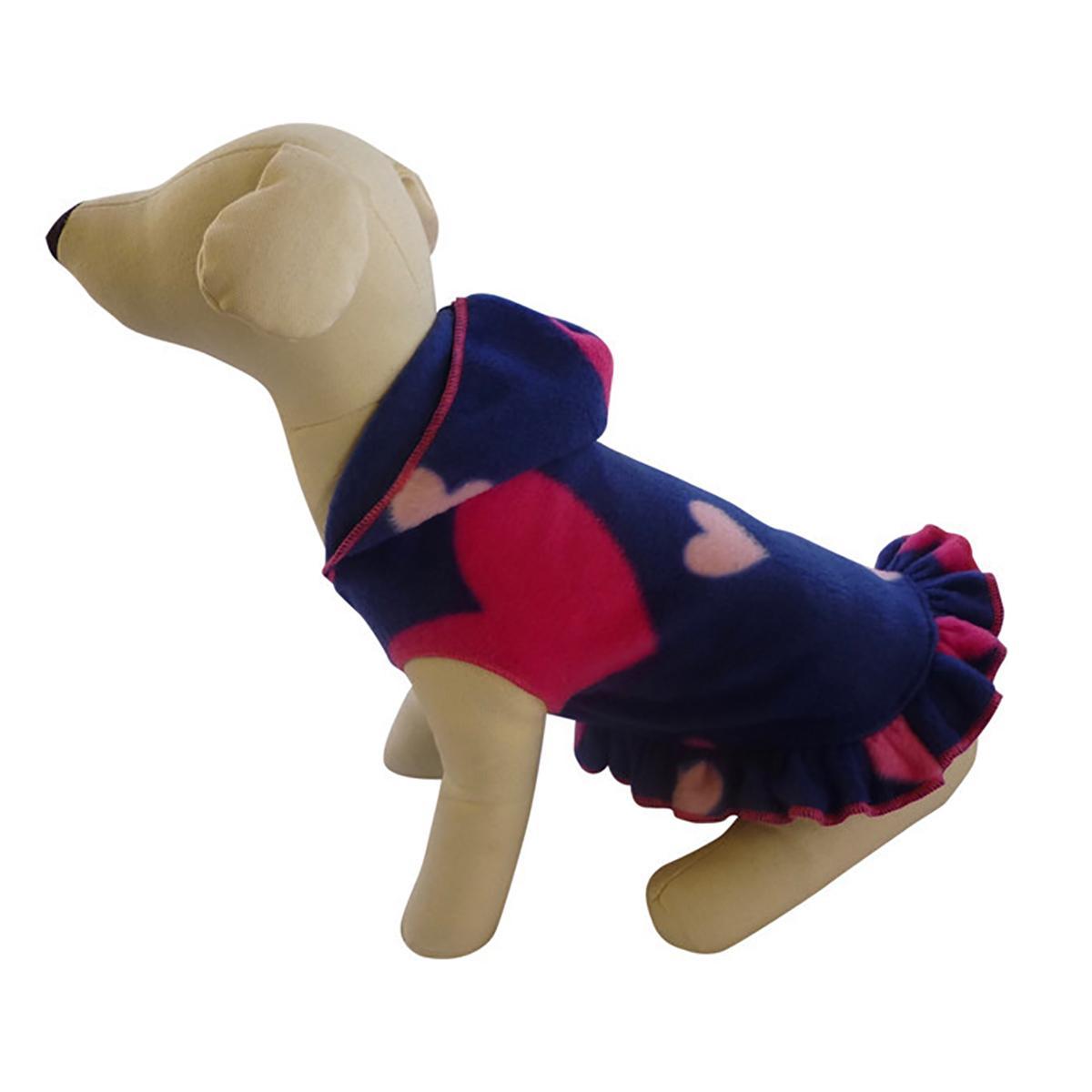 Raining Hearts Hooded Dog Pullover Dress