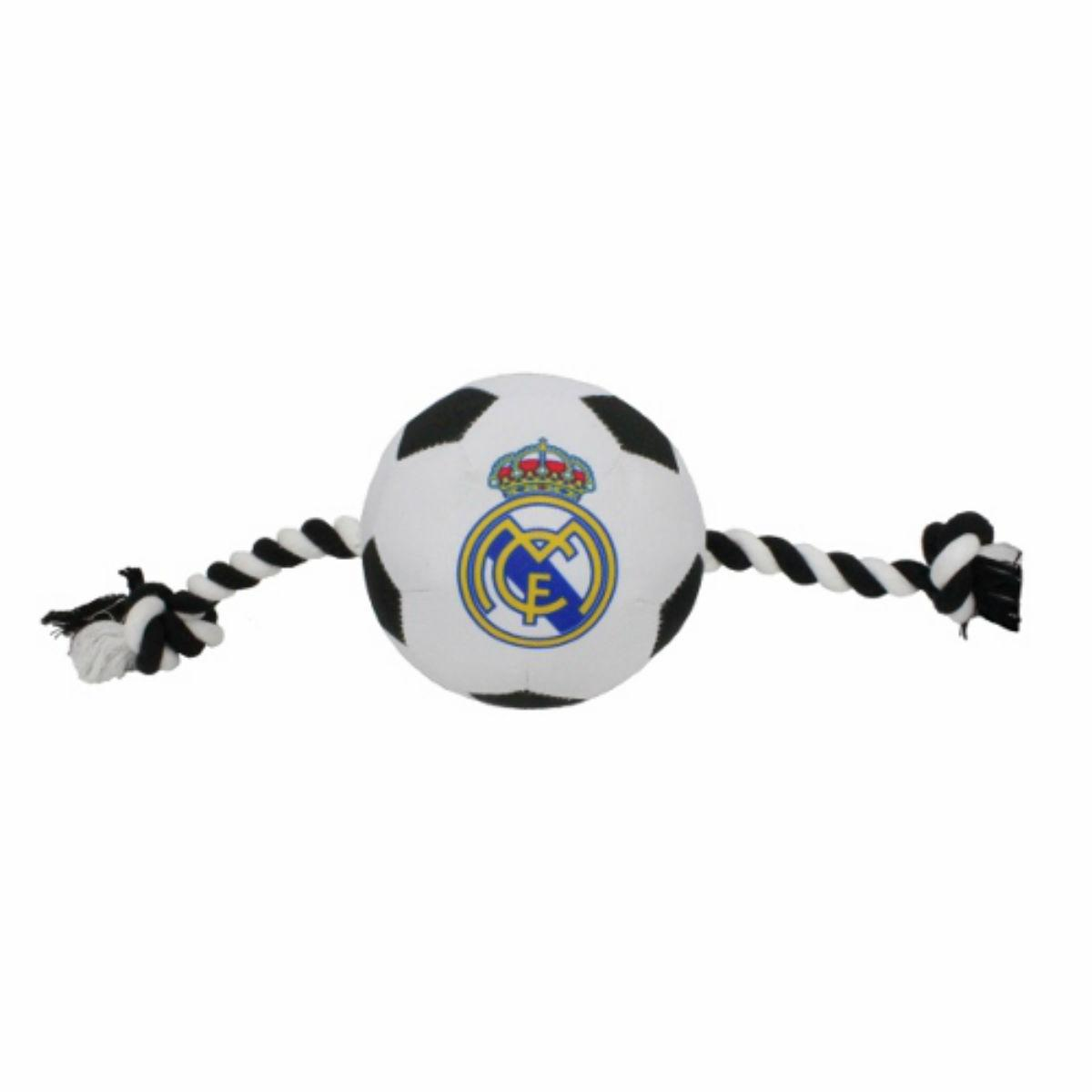 Real Madrid Soccer Ball Dog Toy - Nylon with Rope