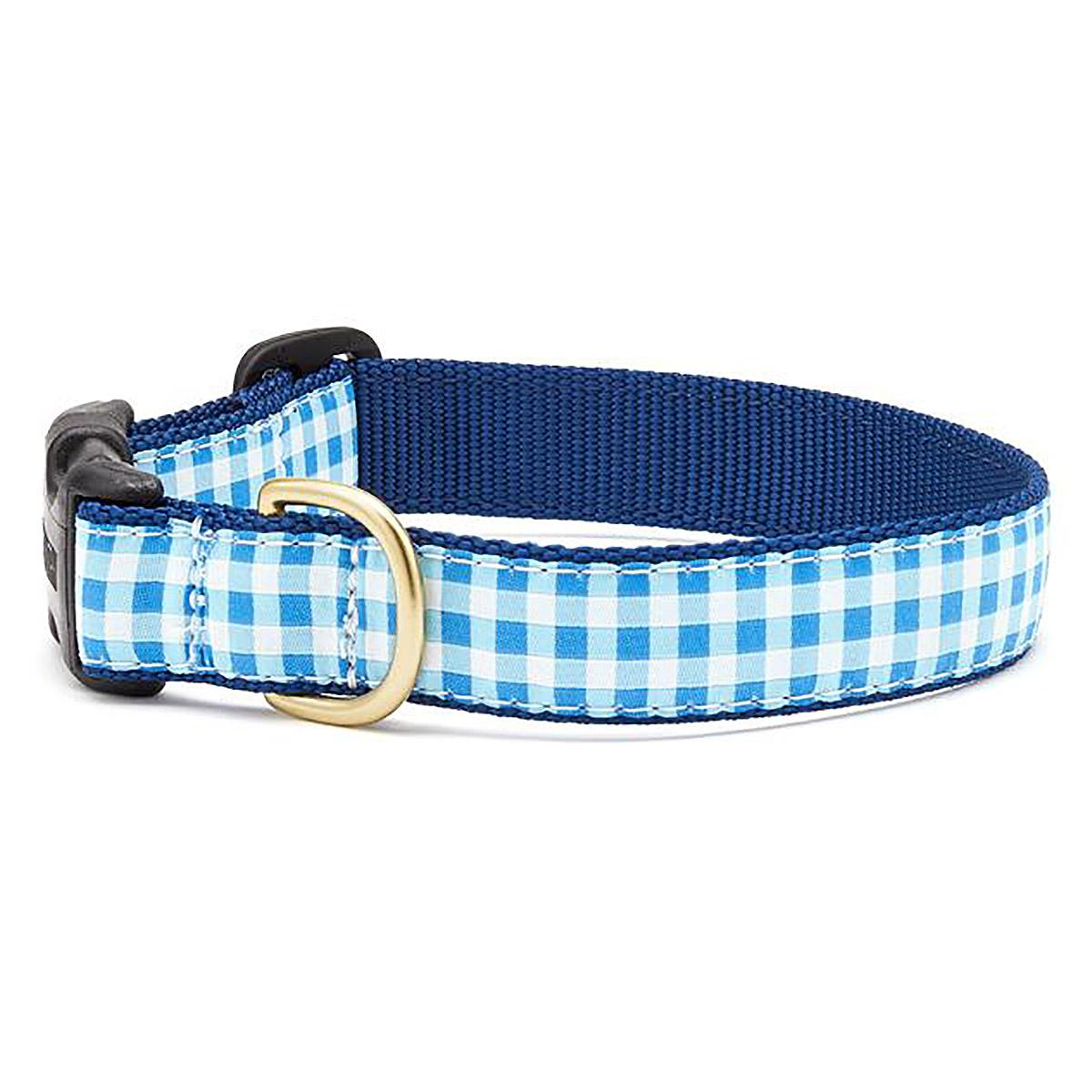 Blue Gingham Dog Collar by Up Country