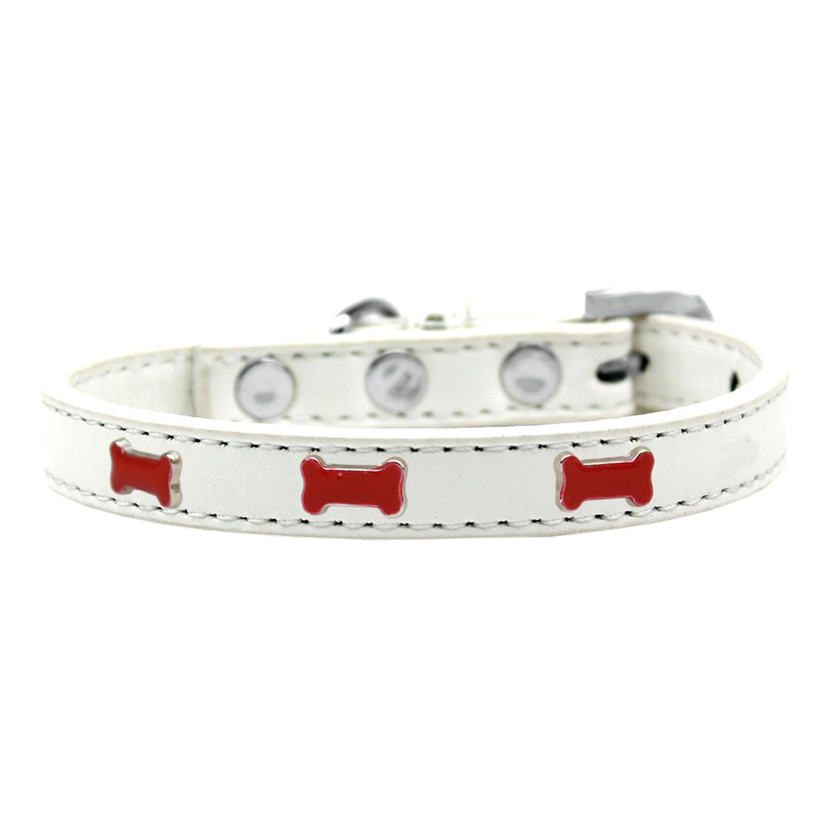 Red Bone Widget Dog Collar - White