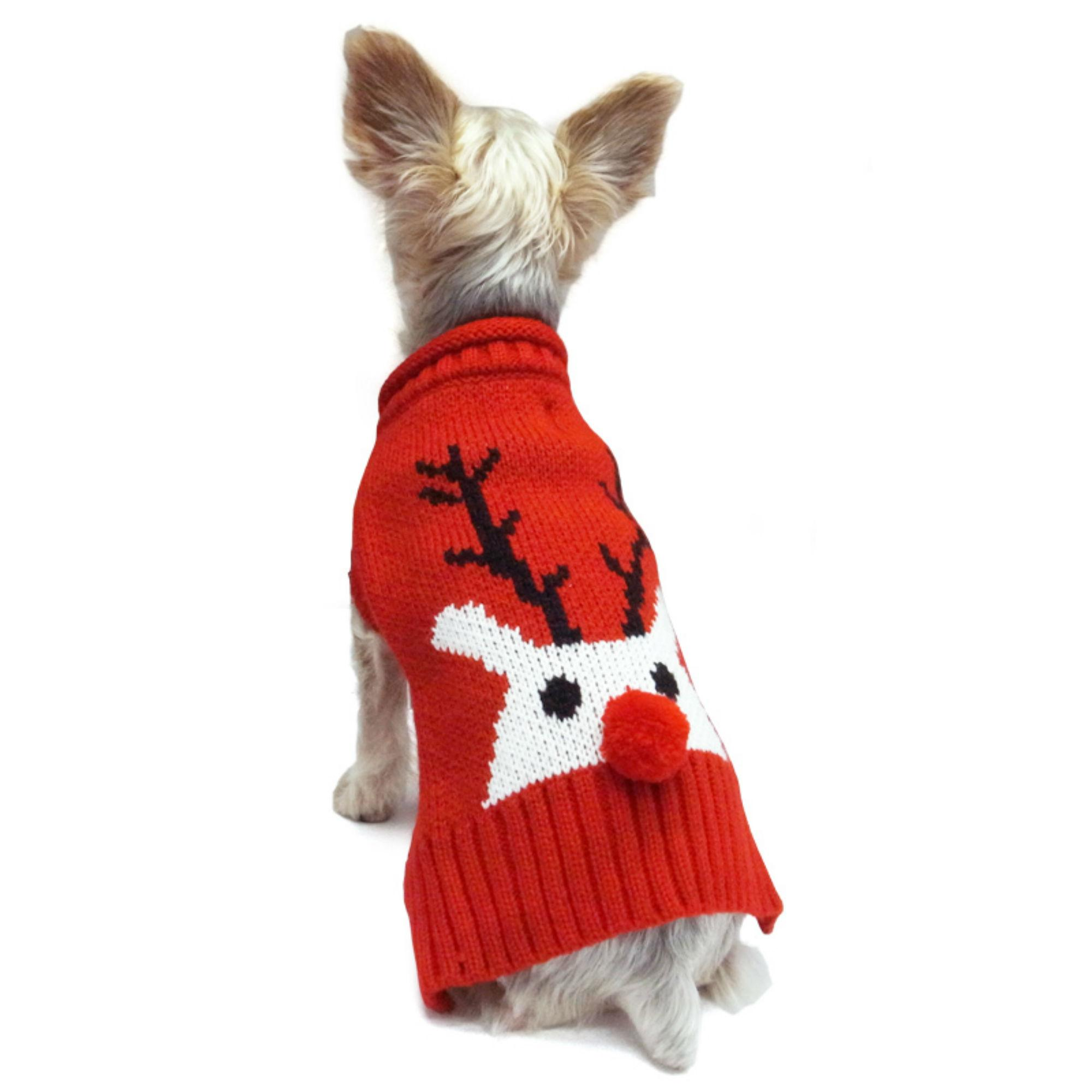 Red Nose Reindeer Dog Sweater by Dogo - Red