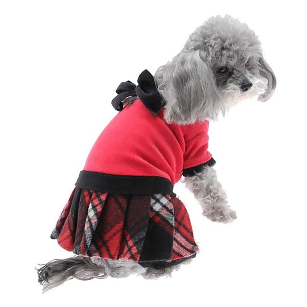 Red Plaid Velvet Jumper by Hip Doggie