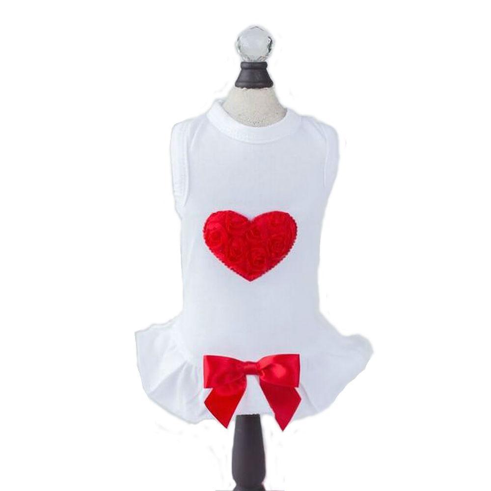 Red Puff Heart Dog Dress - White