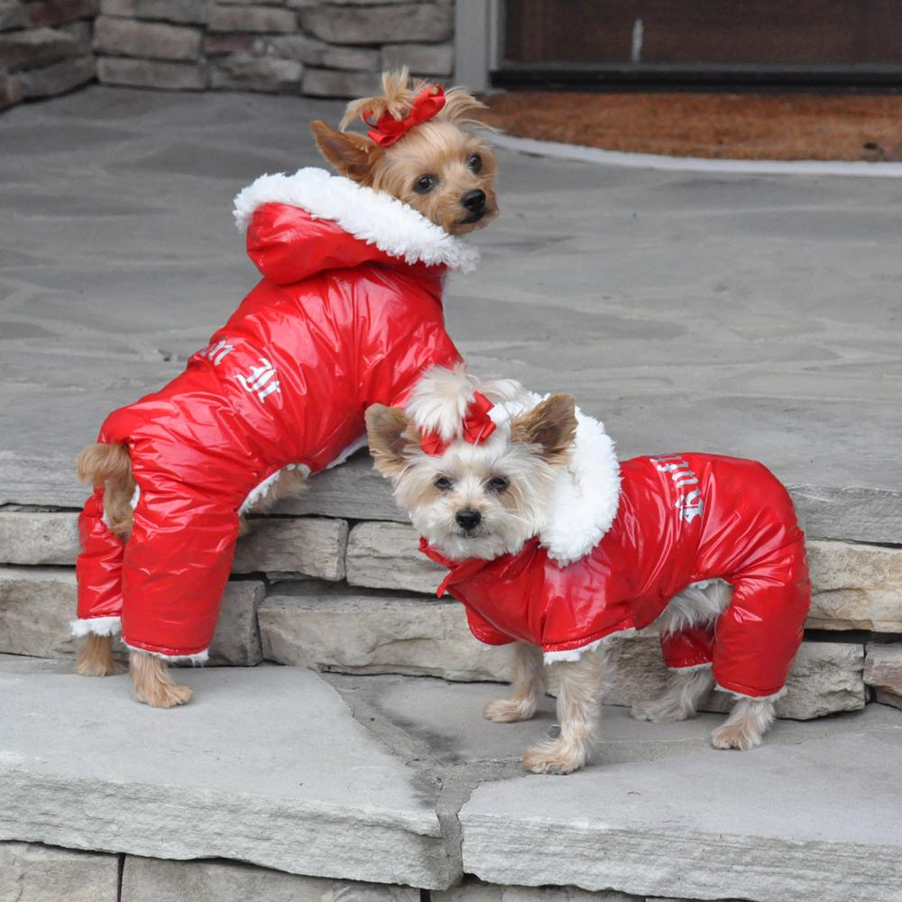 Ruffin It Snowsuit by Doggie Design - Red