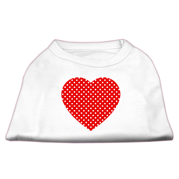Red Swiss Dot Heart Dog Shirt - White