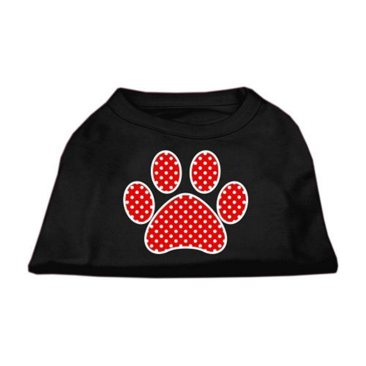 Red Swiss Dot Paw Dog Shirt - Black