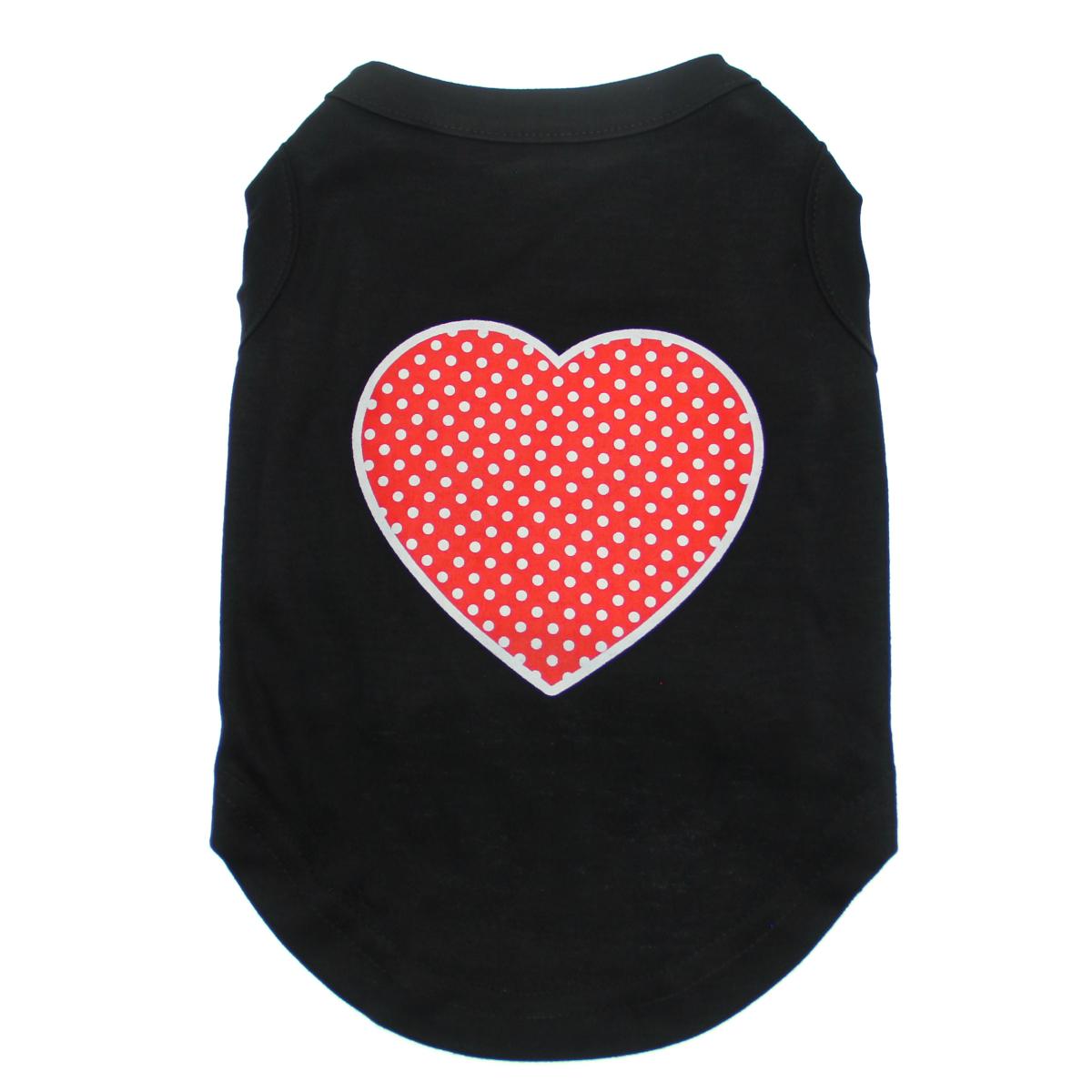 Red Swiss Dot Heart Dog Shirt - Black
