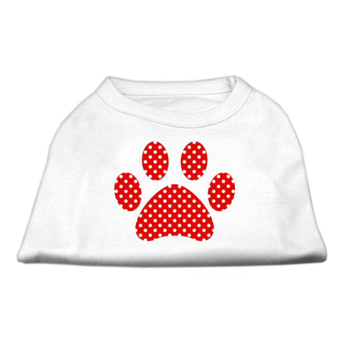 Red Swiss Dot Paw Dog Shirt - White