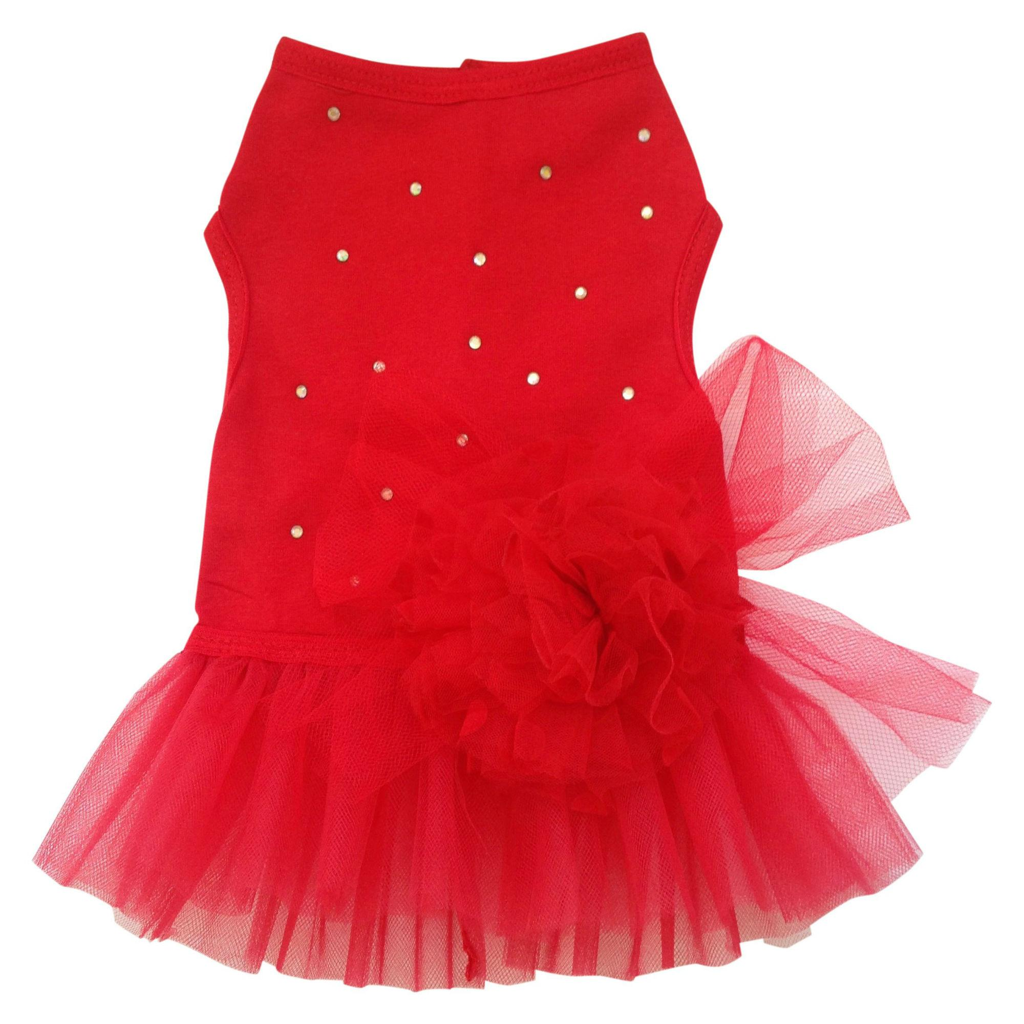 Red Tulle Dog Dress with Rhinestones and Flower