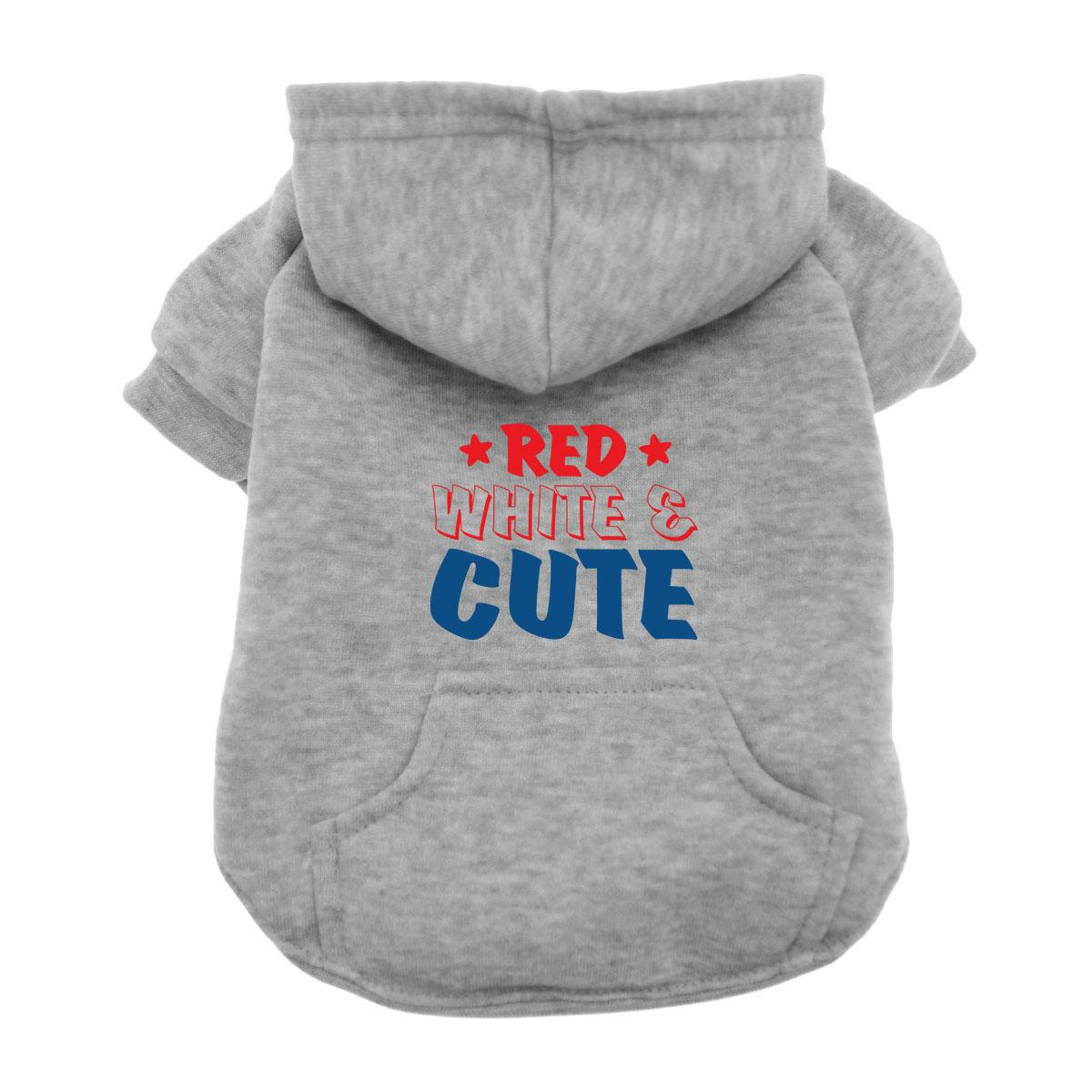 Red, White & Cute Dog Hoodie - Gray