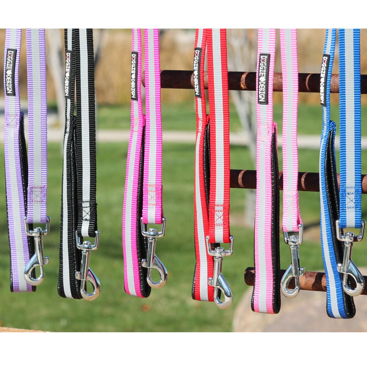Reflective Nylon Leash with Soft Grip Handle by Doggie Design - 3/4 in. Wide x 5 ft. Long