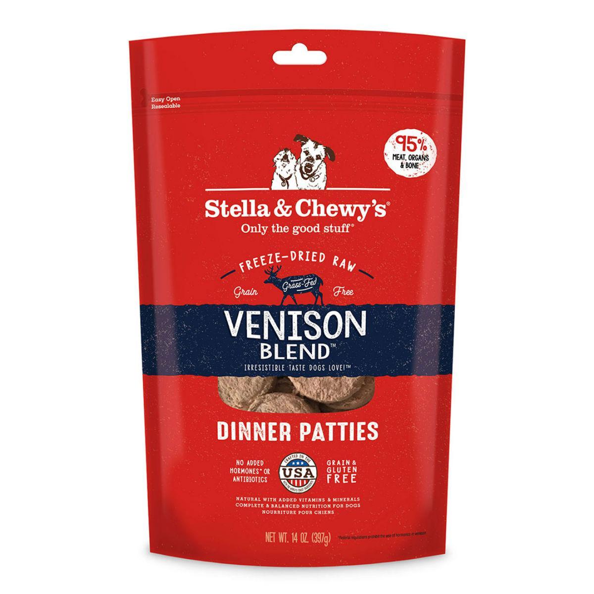 Stella & Chewy's Venison Blend Dinner Patties Dog Treat - Freeze Dried