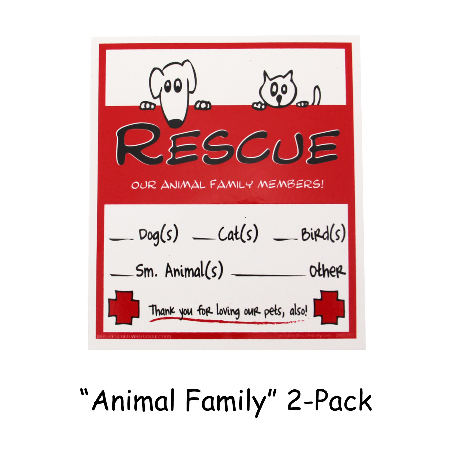 Rescue Our Pets Emergency Decals - Animal Family