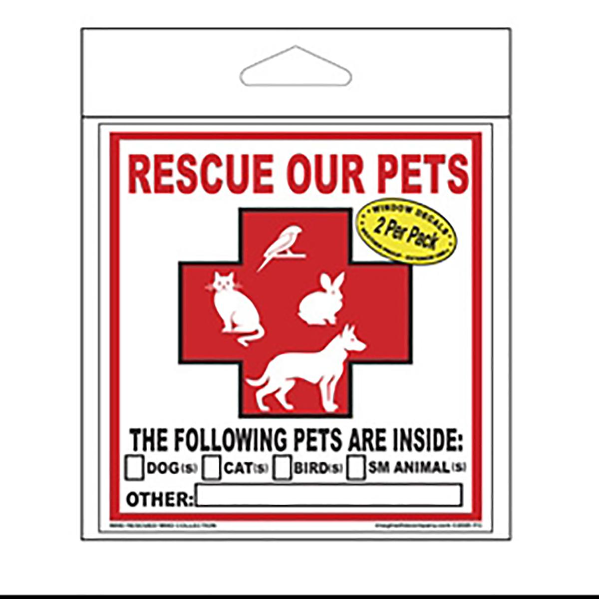 Rescue Our Pets Emergency Decals - Pets