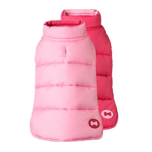 Reversible Bone Puffer Dog Jacket by fabdog® - Pink/Light Pink